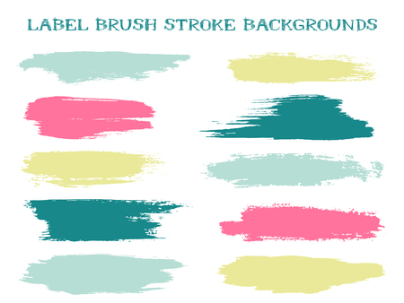 Abstract label brush stroke backgrounds, paint or ink smudges vector for tags and stamps design. Painted label backgrounds patch. Vector ink color palette samples. Ink smudges, stains, teal pink spots