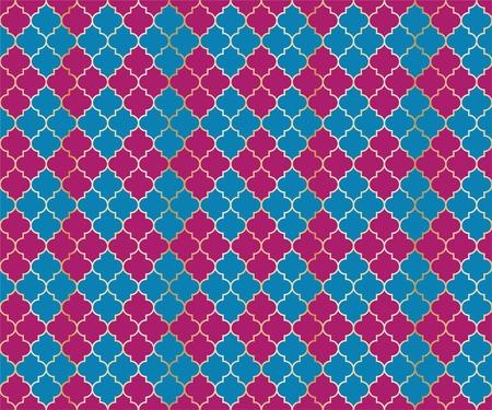 Arabic Mosque Vector Seamless Pattern. Argyle rhombus muslim fabric background. Traditional ramadan pattern with gold grid. Trendy islamic argyle seamless design of lantern lattice shape tiles.