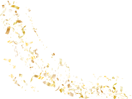Gold glitter realistic confetti flying on white holiday poster background. Modern flying tinsel elements, gold foil texture serpentine streamers confetti falling festive vector.