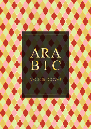 Arabic pattern vector cover page design in arabic style of mosque stained-glass window mosaic grid. Islamic background, moroccan, turkish, arabic, ottoman pattern vector template in gold red pink