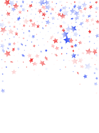 American Independence Day stars background. Holiday confetti in USA flag colors for Presidents Day. Simple red blue white stars on white American patriotic vector. 4th of July holiday stardust.