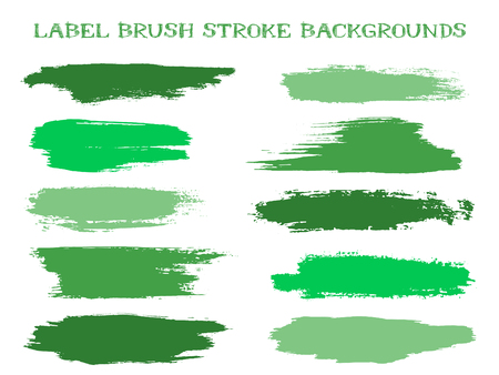Modern label brush stroke backgrounds, paint or ink smudges vector for tags and stamps design. Painted label backgrounds patch. Interior colors guide book samples. Ink smudges, stains, jade spots.  イラスト・ベクター素材