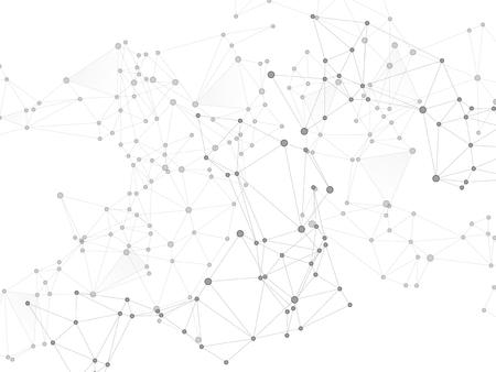 Concept de technologie de réseau mondial de chaîne de blocs. Nœuds de réseau fond de plexus en niveaux de gris. Vecteur de blockchain d'échange de données mondial. Nœuds de cercle et éléments de ligne. Toile de fond de la nanotechnologie.