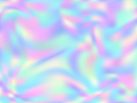 Holographic paper abstract background in neon colors. Fashion magazine cover background with neon metallic gradient hologram. Holographic vector design for poster, brochure, invitation, cover.