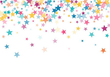 Pink blue yellow stars confetti falling holidays vector background. Magic shining cyan blue pink gold flying stars isolated on white border. Sparkles festive birthday party background graphic design. Ilustração
