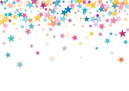 Rosa blau gelb Sterne Konfetti fallende Feiertage Vektor Hintergrund. Magisch leuchtende Cyanblau-Rosa-Gold-Fliegensterne isoliert auf weißem Rand Funkelt festliches Geburtstagsfeier-Hintergrund-Grafikdesign.