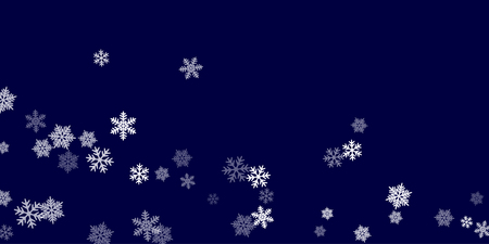 Winter snowflakes border cool vector background.  Macro snowflakes flying border illustration, holiday banner with flakes confetti scatter frame, snow elements. Frosty cold season symbols.