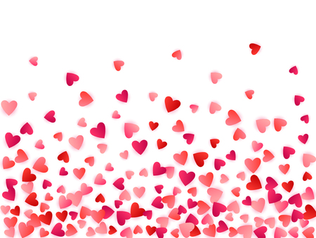 Red flying hearts bright love passion vector background. Amour wallpaper. Romantic emotions signs confetti. Lovely flying red hearts scatter for wedding decoration.