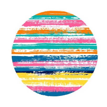 Modern circle vector geometric shape with striped texture of paint horizontal lines. Old paint texture disk. Stamp round shape circle logo element with grunge background of stripes.