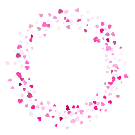 Pink crimson hearts confetti frame border wedding vector background. Sweetly flying hearts shapes illustration. Love concert party graphic design.