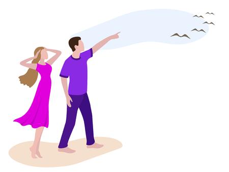 Junger Mann, der Mädchenvögeln im Himmel zeigt. Romantisches Paar am Strand spazieren. Mann und Frau auf dem Weg nach oben in den Himmel. Junge und Mädchen in Freizeitkleidungуі: lila Damenkleid, violettes Herren-T-Shirt