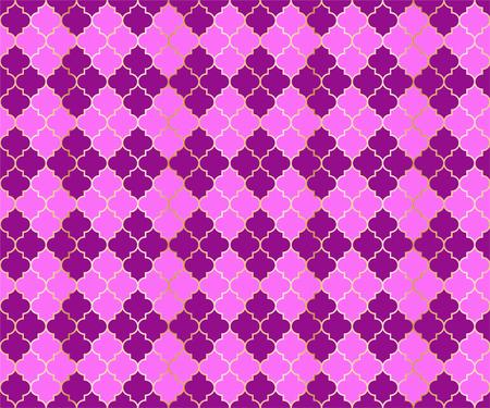 Pakistani Mosque Vector Seamless Pattern. Argyle rhombus muslim textile background. Traditional mosque pattern with gold grid. Chic islamic argyle seamless design of lantern lattice shape tiles.