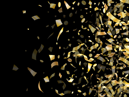 Gold shiny realistic confetti flying on black holiday vector backdrop. Rich flying sparkle elements, gold foil texture serpentine streamers confetti falling carnival vector. Vettoriali