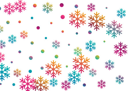 Crystal snowflake and circle elements vector design. Airy winter snow confetti scatter flyer background. Flying gradient snow flakes background, awesome water crystals confetti. Illustration