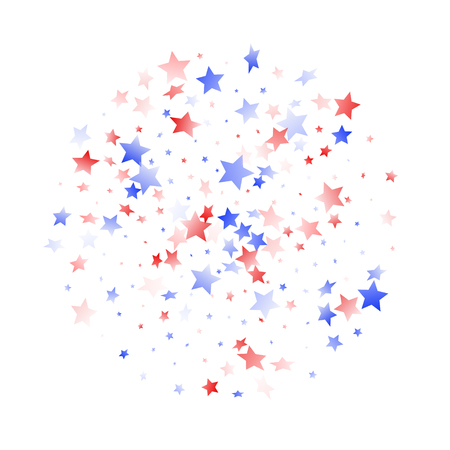 American Patriot Day stars background. Holiday confetti in USA flag colors for Patriot Day.  Trendy red blue white stars on white American patriotic vector. 4th of July holiday stardust. 矢量图像
