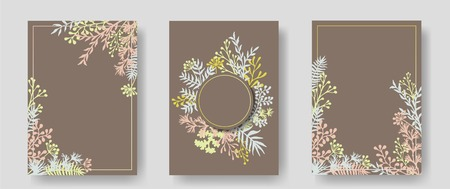 Vector invitation cards with herbal twigs and branches wreath and corners border frames. Rustic vintage bouquets with fern fronds, mistletoe twigs, willow, palm branches in brown. Illusztráció