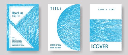 Catalog cover vector templates. Blue sea water waves texture backdrops. Liquid rippling motion background pattern. Marketing catalog trendy layouts design set. Geometric typography cover.