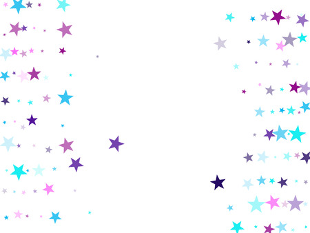 Flying stars confetti holiday vector in cyan blue violet on white. Chaotic holiday decor backdrop. Cool flying stars scatter background. Twinkle starburst astral wallpaper.