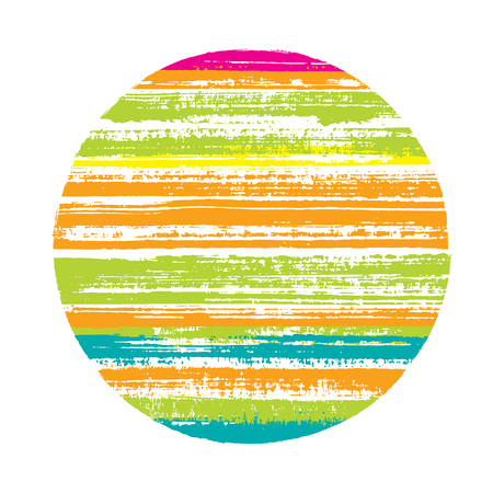 Abstract circle vector geometric shape with striped texture of paint horizontal lines. Planet concept with old paint texture. Stamp round shape logotype circle with grunge background of stripes.
