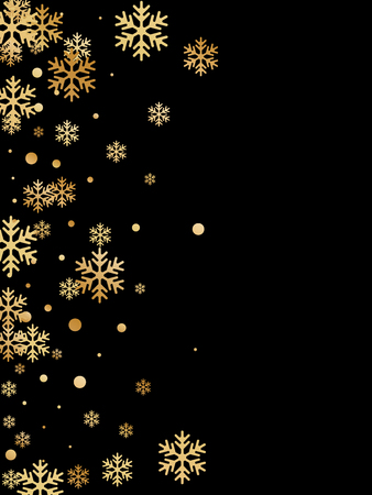 Winter snowflakes and circles border vector design. Unusual gradient snow flakes isolated card background. New Year card border winter pattern with flying snowflake shapes isolated.