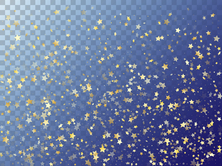 Star shining gold gradient sparkles on transparent background. Astral vector magic stars gold falling sparkles with gradient texture on transparent. Christmas confetti tinsels decoration.  イラスト・ベクター素材