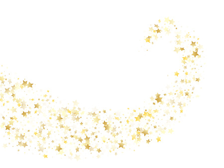 Flying gold star sparkle vector with white background. Premium gold gradient christmas sparkles glitter geometric star pattern. Holiday starlight banner backdrop. Illustration