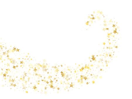 Vector de brillo estrella de oro volador con fondo blanco. Gradiente de oro premium destellos de navidad brillo patrón de estrella geométrico. Telón de fondo de banner de luz de las estrellas de vacaciones.