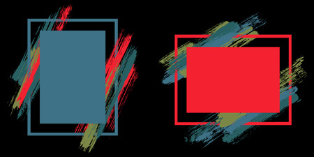 Stylish frames with paint brush strokes vector collection. Box borders with painted brushstrokes on black. Advertising graphics design flat frame templates for banners, flyers, posters, cards.