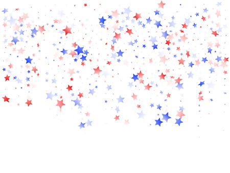 American Patriot Day stars background. Holiday confetti in US flag colors for President Day.  Vivid red blue white stars on white American patriotic vector. 4th of July holiday stardust.
