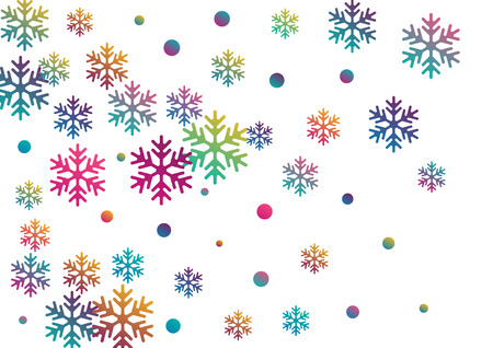 Crystal snowflake and circle shapes vector backdrop. Trendy winter snow confetti scatter flyer background. Flying colorful gradient snow flakes background, cute water crystals vector.