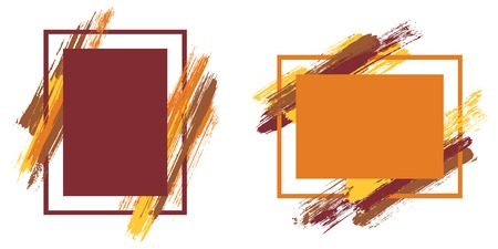 Modern frames with paint brush strokes vector set. Box borders with painted brushstrokes backgrounds. Educational graphics design flat frame templates for banners, flyers, posters, cards. Illustration