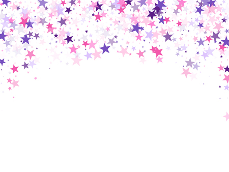 Flying stars confetti holiday vector in pink violet purple on white. Surprise party decoration. Trendy stars explosion background. Christmas banner decoration.