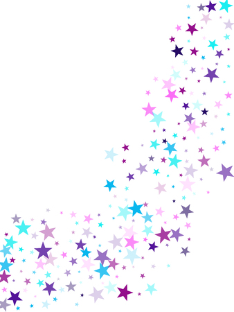 Flying stars confetti holiday vector in cyan blue violet on white. Magic sparkles decorative print. Trendy stars explosion background. Christmas banner decoration.