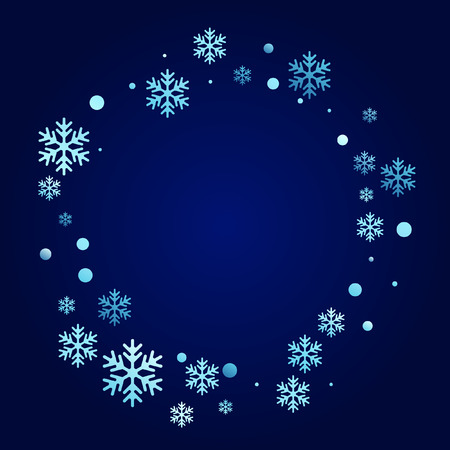 Winter snowflakes and circles border vector design. Unusual gradient snow flakes isolated flyer background. New Year card border winter pattern with cool snowflake shapes isolated.