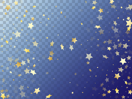 Star shining gold gradient sparkles on transparent background. Luxurious vector magic stars gold falling sparkles with gradient texture on transparent. Party tinsels scatter flying pattern.