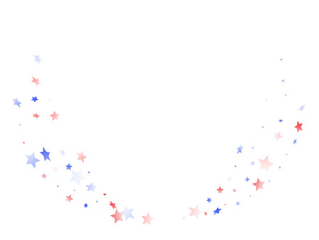American Memorial Day stars background. Holiday confetti in US flag colors for Patriot Day. Gradient red blue white stars on white American patriotic vector. Fourth of July stardust scatter.