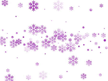 Crystal snowflake and circle shapes vector illustration. Windy winter snow confetti scatter flyer background. Flying colorful gradient snow flakes background, cool water crystals vector.