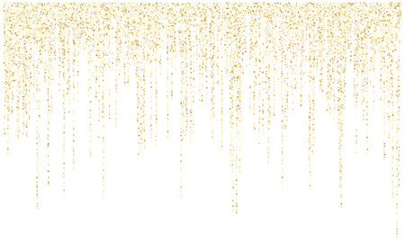 Garland lights gold glitter hanging vertical lines vector holiday background. Confetti dots rain, premium gold garlands glitter light effect. Circle confetti falling, stylish sparkles shimmer.