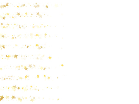 Magic gold sparkle texture vector star background. Flying gold falling magic stars on white background sparkle pattern graphic design. Christmas confetti tinsels decoration.  イラスト・ベクター素材