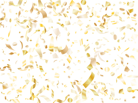 Gold glossy realistic confetti flying on white holiday vector backdrop. Chic flying tinsel elements, gold foil texture serpentine streamers confetti falling christmas vector.