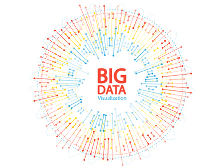 Big data visualization concept vector. Circle frame on connected lines and dots. Digital information statistical methods innovation visual concept. Big data graphic structure.
