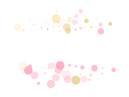 Rose gold confetti circle decoration for Valentine card background. Holiday vector decor. Gold, pink and rose color round confetti dots, circles scatter on white. Glamour bokeh background. Ilustrace
