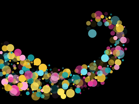 Memphis round confetti modern background in teal, rose color, gold on black.  Childish pattern vector, kid's party birthday celebration background.  Holiday confetti circles in memphis style.