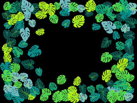 Turquoise tropical jungle leaves vector scatter. Philodendron or monstera plant summer background. Cute jungle plants tropical foliage pattern. Floral design with monstera leaves on black.