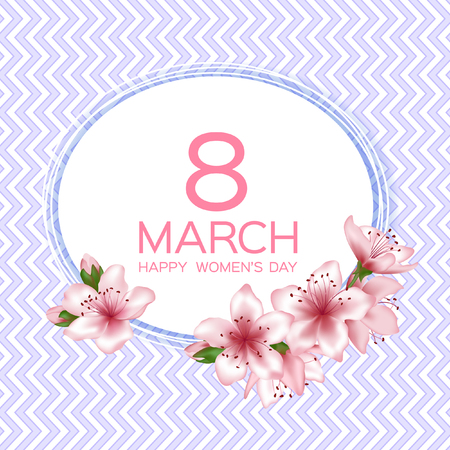 8 March Happy Women's Day vector card. Japanese cherry blossom pink sakura flowers border. Decorative greeting card with sakura branch tree flowers bloom. March 8th international womens day design.