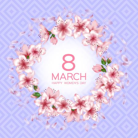 8. März Happy Women's Day-Vektorkarte. Japanischer Kirschblütenrosa-Sakura-Blumenrahmen. Sanfte Grußkarte mit Sakura-Zweigbaumblüten. 8. März internationaler Frauentag Design.