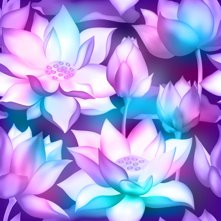 Lotus flower bouquets with buds vector illustration isolated on white seamless pattern. Pink flowers, lotus buds beautiful blossom bouquets seamless wallpaper.
