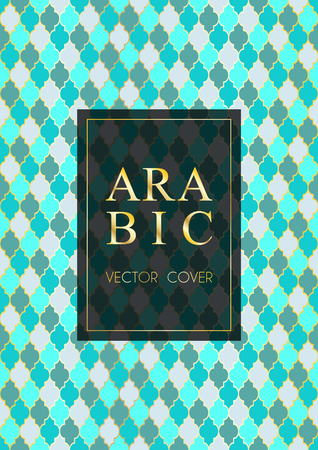 Ottoman pattern vector cover page design in arabic style of mosque stained-glass window mosaic grid. Islamic background, moroccan, turkish, arabic, ottoman pattern vector template in gold blue cyan
