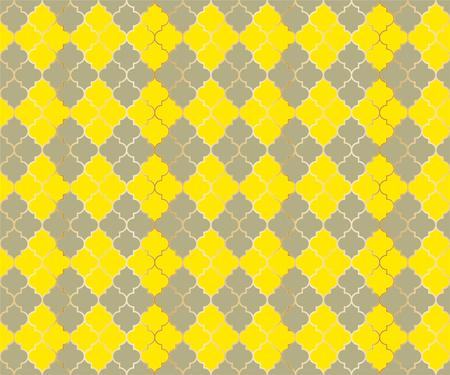 Turkish Mosque Vector Seamless Pattern. Argyle rhombus muslim textile background. Traditional ramadan pattern with gold grid. Rich islamic argyle seamless design of lantern lattice shape tiles. 向量圖像