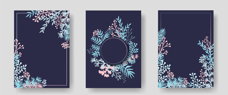 Vector invitation cards with herbal twigs and branches wreath and corners border frames. Rustic vintage bouquets with fern fronds, mistletoe twigs, willow, palm branches in blue pink. Illusztráció